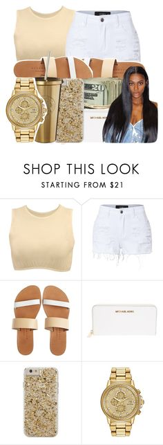 """""""Untitled #299"""" by glowithbria ❤ liked on Polyvore featuring Kosher Casual, LE3NO, Isapera, MICHAEL Michael Kors, Case-Mate and Citizen"""