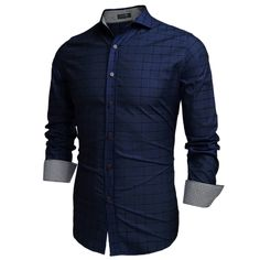 COOFANDY Blue Men Fashion Turn-Down-Kragen Langarm Karo Baumwolle Button Freizeithemden