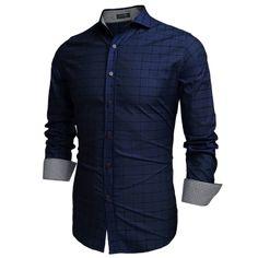 COOFANDY Blue Men Fashion Turn-Down-Kragen Langarm Karo Baumwolle Button Freizeithemden