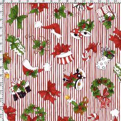 Christmas Crowd Red Fabric Yard