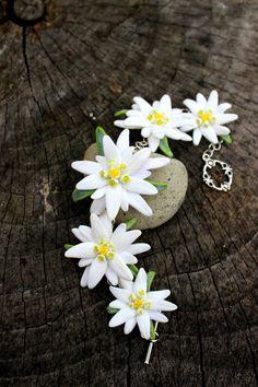 Edelweiss polymer clay jewelry wedding bracelet by Jewelrylimanska