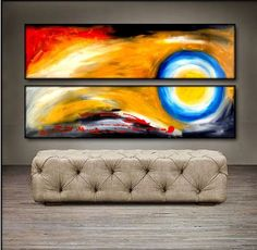 """'Full Moon' - 48"""" X 24"""" Original Art . Free shipping within USA & 30 day return policy."""