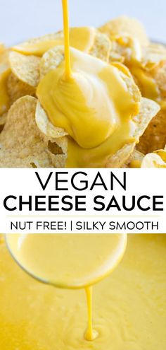 all purpose vegan cheese sauce (nut free!) that goes great with chips, on a baked potato or drizzled over steamed broccoli.An all purpose vegan cheese sauce (nut free!) that goes great with chips, on a baked potato or drizzled over steamed broccoli. Best Vegan Cheese, Vegan Cheese Recipes, Vegan Cheese Sauce, Dairy Free Cheese, Vegan Sauces, Vegan Foods, Vegan Dishes, Cashew Cheese, Nut Cheese