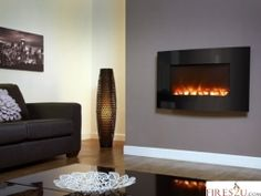 Celsi Electriflame Curved Black Glass wall mounted electric fire uses advanced technology to create one of the most realistic flame pictures found in any electric fire today. Relax and enjoy the… Mirror Electric Fire, Wall Hung Electric Fires, Indoor Electric Fireplace, Wall Mount Electric Fireplace, Wall Mounted Fireplace, Home Fireplace, Fireplace Surrounds, Fireplaces, Oak Mantle