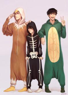Jason, Nico and Percy in pajamas. | art by kitt2506