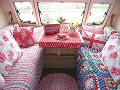 seating and little table vintage camper trailer glamping - ruggedthug Caravan Vintage, Vintage Caravans, Vintage Travel Trailers, Retro Trailers, Vintage Airstream, Airstream Trailers, Vintage Caravan Interiors, Camping Trailers, Kombi Trailer
