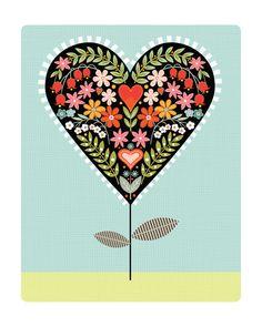 Heart on a Stem Art Print