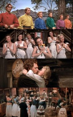 Seven Brides for Seven Brothers. Such a classic, even if it is one of the most unbelievable musicals ever. Meet a man once and agree to marry him 10 minutes later? Yes. Kidnapping leads to true love? Yes. Having a waist like Dorcas is possible? Yes. The brothers' colorful shirts are gorgeous and the barn raising dance scene is one of the most amazing things ever.
