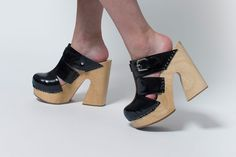REFINED - Fiero Black Leather Cutout Clogs by Rachel Comey I SALE