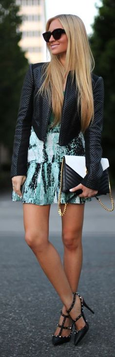 Street style,  Green graphic dress with leather moto jacket
