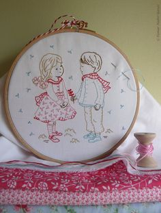 Boy and girl Diy kit Hand embroidery  Winter by TamarNahirYanai