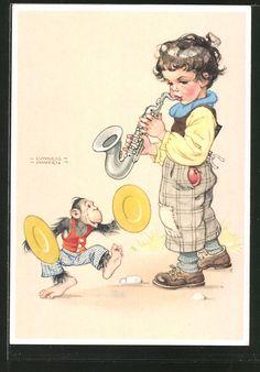 Künstler-AK Lungershausen: Junge spielt einem Affen auf seinem Saxophon etwas…