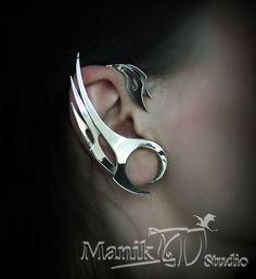 Manchette d'oreille en acier ailes | Plumes d'acier | Ailes de bijoux | Poignets de bijoux | Boucles d'oreilles d'oiseau | ailes de Dragon