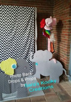 Card board box Elephant. Prop is great for a Woodland, zoo, jungle, Lion King or safari theme party. Baby shower photo booth & props. Made by Sara's Kooky Creations