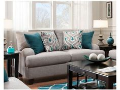 Keep current with the most recent small living room decoration some ideas (chic & modern). Find great methods for getting fashionable style even if you have a small living room. Living Room Turquoise, Coastal Living Rooms, Living Room Grey, Living Room Sets, Living Room Interior, Home Living Room, Living Room Furniture, Living Room Designs, Home Furniture