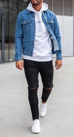 fashion menswear outfits Denim sweater mens men shirt hoodie wear style fashstop tracksuit vans converse street fash stop jeans ripped jeans denim shirts jacket hoodie boots tee Shorts Summer abs gym workout Mens Fall Outfits, Cool Outfits For Men, Stylish Mens Outfits, Jean Outfits For Men, Men's Casual Outfits, Clothes For Men, Stylish Jeans For Men, Swag Outfits Men, Clothes Shops