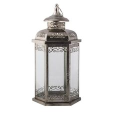Moroccan Style Large Glass and Metal Table Lantern, Candle Holder - Wedding