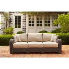 Brown Jordan Northshore Patio Sofa with Harvest Cushions and Regency Wren Throw Pillows -- STOCK-DY6061-S - The Home Depot