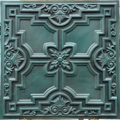 pl16 faux finish colored ceiling tiles antique cyan color three dimentional decor wall panels 10tiles - Cyan Cafe Interior