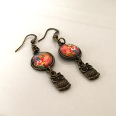 owl earrings, brownze owl earrings, owl dangle earrings, cabochon earrings, red floral earrings, gifts for her, quirky earrings by Buttonshedhandmade on Etsy