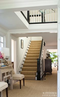 Sisal Stair Runner M.Frederick Interiors.  home decor and interior decorating ideas.  beautiful homes and entryways.  staircase.