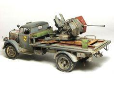 """""""Opel Blitz AA version"""" 1/35 scale. By Przemyslaw Mrozek. TAMIYA 1/35 Opel Blitz truck + DRAGON Flak 38 20mm AA.  WW2 #scale_model"""