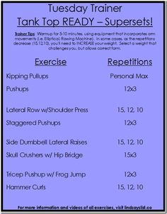2c3744ba534054 Tank Top READY upper body workout workouts Circuit Training Workouts