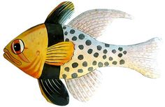 Spotted Tropical Fish Wall Hanging - Hand Painted Caribbean Steel Drum Art - 10 x 19 - www.Tropical-Fish-Décor.com