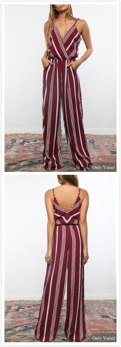 If you are looking for something dress down but on trend then you can't miss this stripe pattern strappy jumpsuit . It features strappy design , V neckline and stretchable wasit . Just pair it with platforms and you could get a complete look .