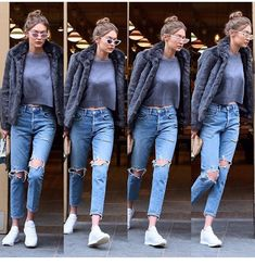 "142 Beğenme, 2 Yorum - Instagram'da Gigi Hadid Styles (@gigihadidstreetstyles): ""3.2.17"" Bella Gigi Hadid, Gigi Hadid Style, Gigi Hadid Modeling, Gigi Hadid Outfits, Models Off Duty, Ripped Jeans, Autumn Winter Fashion, Winter Outfits, Pants"