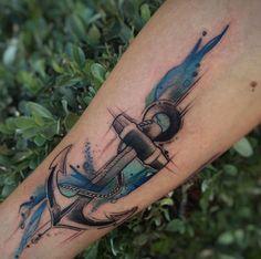Watercolor anchor tattoo by Jean Alvarez