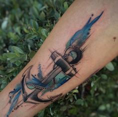 Watercolor anchor tattoo by Jean Alvarez