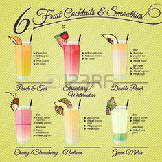 C cteles saludables y batidos recetas e ilustraciones con decoraciones de frutas Foto de archivo