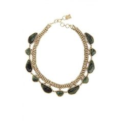 Bcbg Maxazria Gold Green Natural Stone Collar Necklace ($99) ❤ liked on Polyvore featuring jewelry, necklaces, gold necklace, collar necklace, chain collar necklace, gold chain necklace and lobster clasp charms