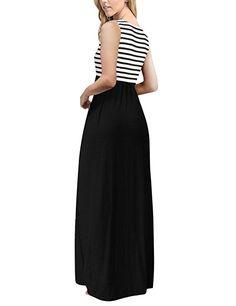 Women's Summer Striped Sleeveless Crew Neck Long Maxi Dress Dress with Pockets - White Flag No Belt XX-Large Cap Dress, Dress Up, Plus Size Maxi Dresses, Short Sleeve Dresses, Very Short Dress, Summer Stripes, Cosplay Dress, Swing Dress, Pretty Dresses