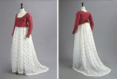 "1790s red silk jacket and muslin petticoat, embroidered in metal 25"" waist"