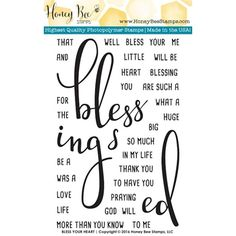 Honey Bee BLESS YOUR HEART Clear Stamp Set HBST21