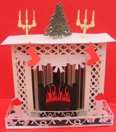 3D Fireplace box SVG on Craftsuprint designed by Tina Fitch - A rather novel idea for Christmas would look lovely as a decoration or could be given as a gift - Now available for download!