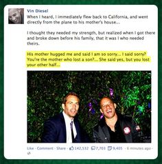 Vin Diesel on Paul Walkers death #RememberTheBuster ❤