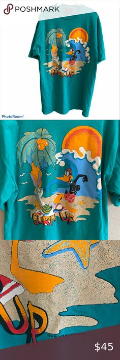 """Vintage 90s Bugs Bunny Surfs Up t- shirt Oversized Vintage 90s Bugs Bunny Surfs Up t- shirt Oversized.  Awesome throwback.  Good preowned condition.  One size oversized tee.  Measures 35 1/2"""" long and 23 1/2"""" armpit to armpit approximately Vintage Shirts Tees - Short Sleeve"""