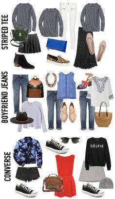 Outfit ideas. Striped tee. Boyfriend jeans. Black converse. 3 Wardrobe Basics, 3 Ways