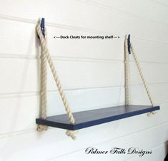 SWING ROPE SHELF Bring a nautical accent to the room while adding extra storage space. Love these shelves! This Sturdy Shelf is completely handcrafted by us from solid poplar wood. Painted and sea