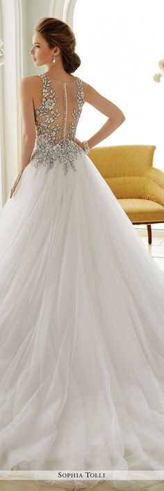 Sophia Tolli Fall 2016 Wedding Gown Collection - Style No. Y21655 Dolce Vita - lace sleeveless illusion tulle ball gown wedding dress: