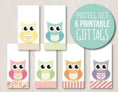 Pastel Gift Tag Set | Owl Hang Tags | Owl Labels | Printable Gift Tags | Favor Tags | Baby Shower | mint pink yellow orange purple teal by HayahDesigns on Etsy https://www.etsy.com/listing/233806501/pastel-gift-tag-set-owl-hang-tags-owl