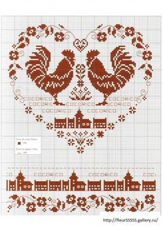 ♥cross stitch and rooster - 2 of my favorites Cross Stitch Kitchen, Just Cross Stitch, Cross Stitch Heart, Cross Stitch Borders, Cross Stitch Samplers, Cross Stitch Animals, Cross Stitch Designs, Cross Stitching, Cross Stitch Embroidery