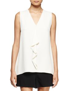 Sleeveless V-Neck Ruffle Blouse, Off White