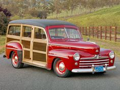 """1948 Ford Super Deluxe Woodie History: Many manufacturers—Chrysler, Buick—created wooden-body wagons, but only Ford's (sold from 1929 to gets name-checked in Jan and Dean's """"Surf City. Ford Lincoln Mercury, Vintage Cars, Antique Cars, Vintage Ideas, Automobile, Woody Wagon, Ford Classic Cars, Porsche Classic, Old Fords"""