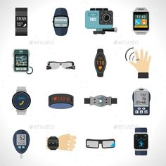 Wearable Technology Icons by macrovector Wearable technology icons set with smart portable electronic devices isolated vector illustration. Editable EPS and Render in JPG