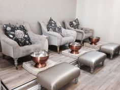 A relaxing pedicure in these comfortable chairs in a stunning environment!
