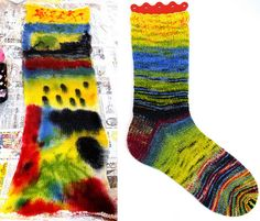 Wow. There is this whole brilliant thing with dying sock blanks. They come with two threads knitted together, so that your socks will come out matchy, no matter how complicated the design. Any stretch of knitting will do, though, if you aren't planning for socks. There is a group on Ravelry called Sock Blank Artists that has a lot of cool info on the subject.